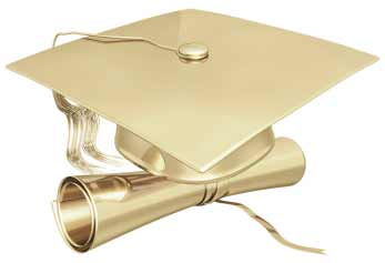 Photo of golden graduation cap and diploma