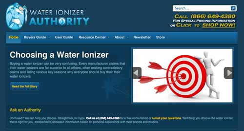 Photo of website for Water Ionizer Authority